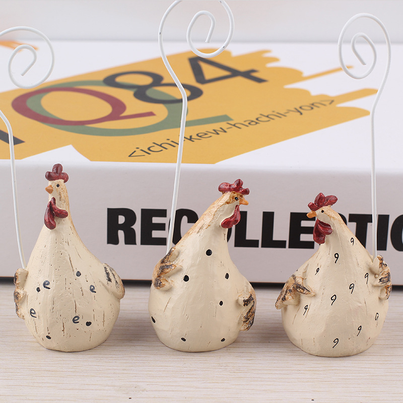 resin cute animal model pickle clip wholesale resin rooster figurines