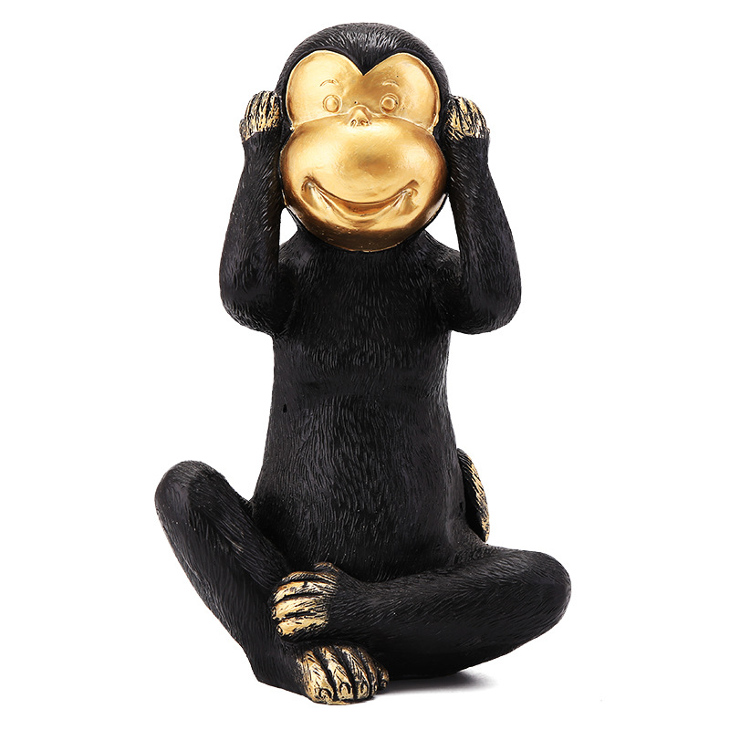 custom home decor cute see hear speak no evil animal resin monkey statues