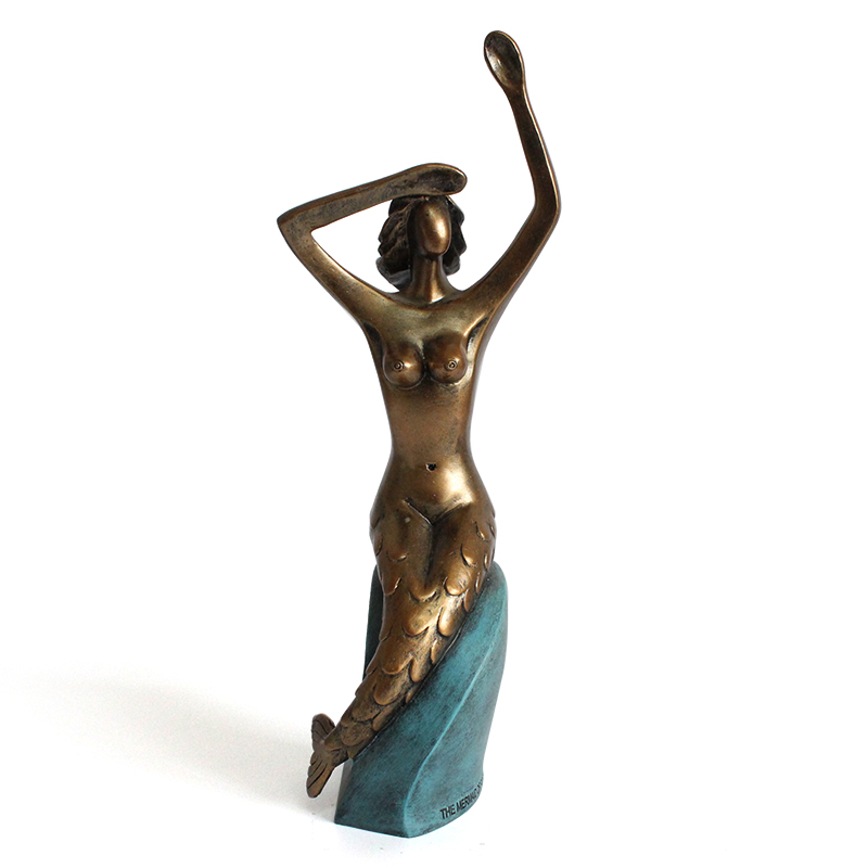 Resin nude woman sculpture gift indoor craft graceful mermaid art statue
