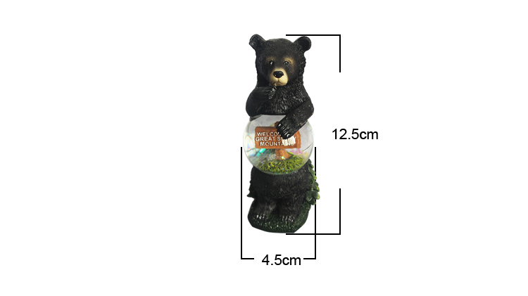 Resin custom animal bear shaped home&shop decor creative gifts welcome snow globe