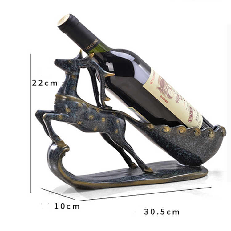 High quality vintage wine rack deer shape desktop ornament wine holder