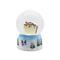 100mm resin custom cheap battery power snowing house light snow globe for sale