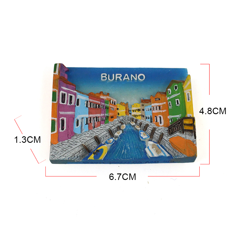 Resin souvenir gift cheap colorful Burano landmark building fridge magnet