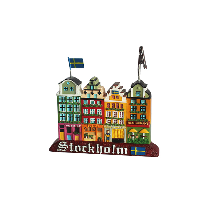 120mm resin custom souvenir gifts office decor Stockholm city card clips figurines
