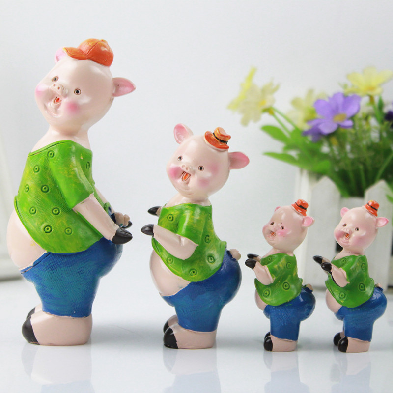 custom 3d cute animal interior art decoration figurine resin pig sculpture