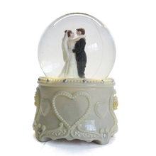 custom 80mm glass white rose base personalized human couple wedding snow globe