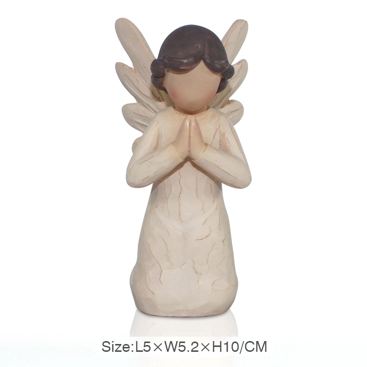 factory custom wooden polyresin pray angel statue