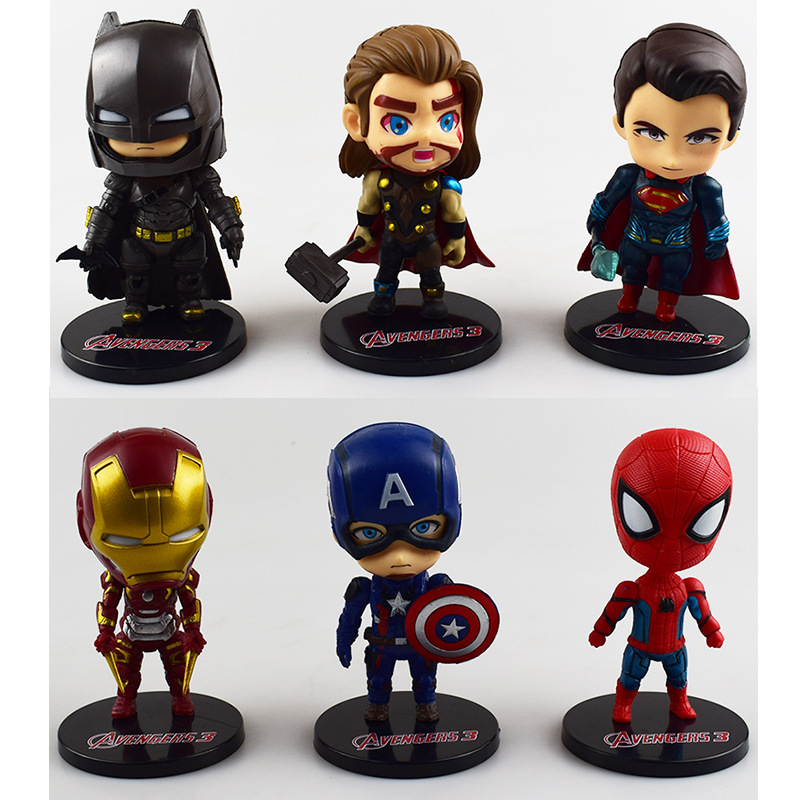 handmade hot toys cute 3d 6 superhero characters marvel action figure sets
