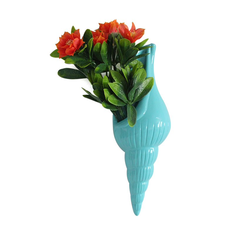 Resin custom conch shaped flower arrangement colorful wall mounted vase for home decoration