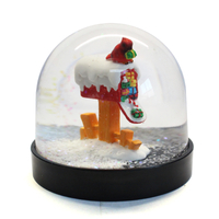 Hot sale OEM Christmas mailbox shape snow globe manufacturer plastic snow globe