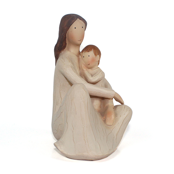 wholesale polyresin wood mother and baby statue