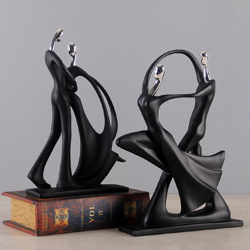 handmade resin man and woman figurines abstract loving dancing couple statues