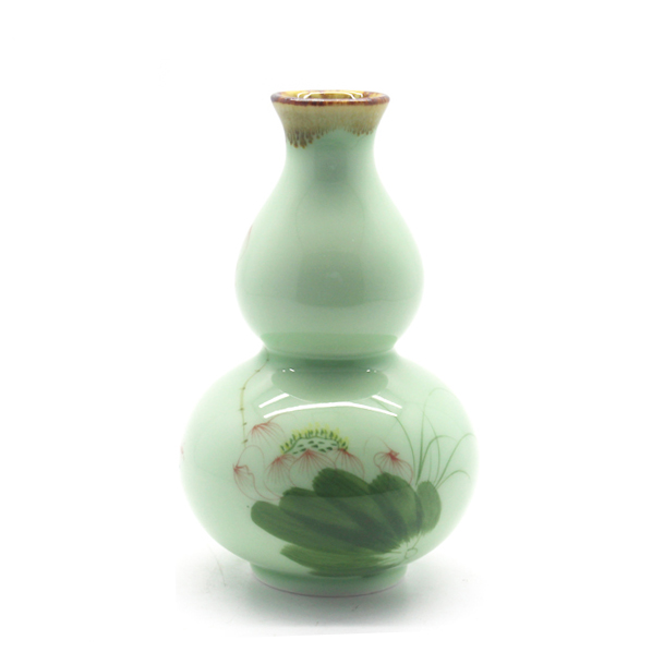 Customized unique home decoration cucurbita shape flowerpot mini ceramic vase