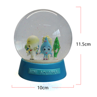 100mm cartoon mini aquarium souvenir gift craft blue base snow globe with cute Style
