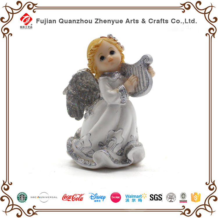 Resin customized top quality tabletop decoration kawaii girl with harp angel statue