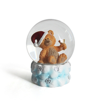 Manufacturer Custom bear snow globes with music polyresin snow globe