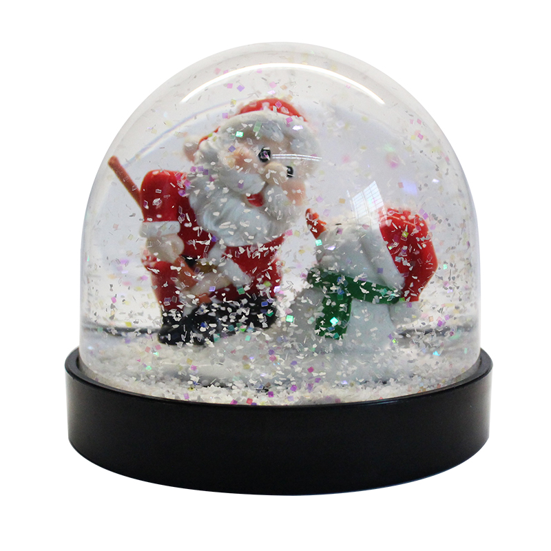 wholesale cheap hot selling Santa Claus and Snowman black base plastic snow globe