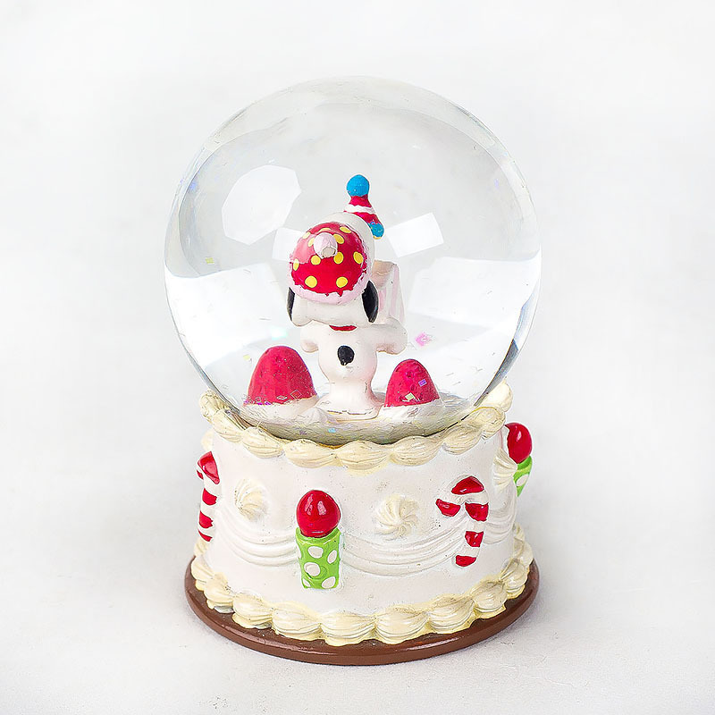 custom japanese animal personalizedl small christmas snoopy snow globe with music