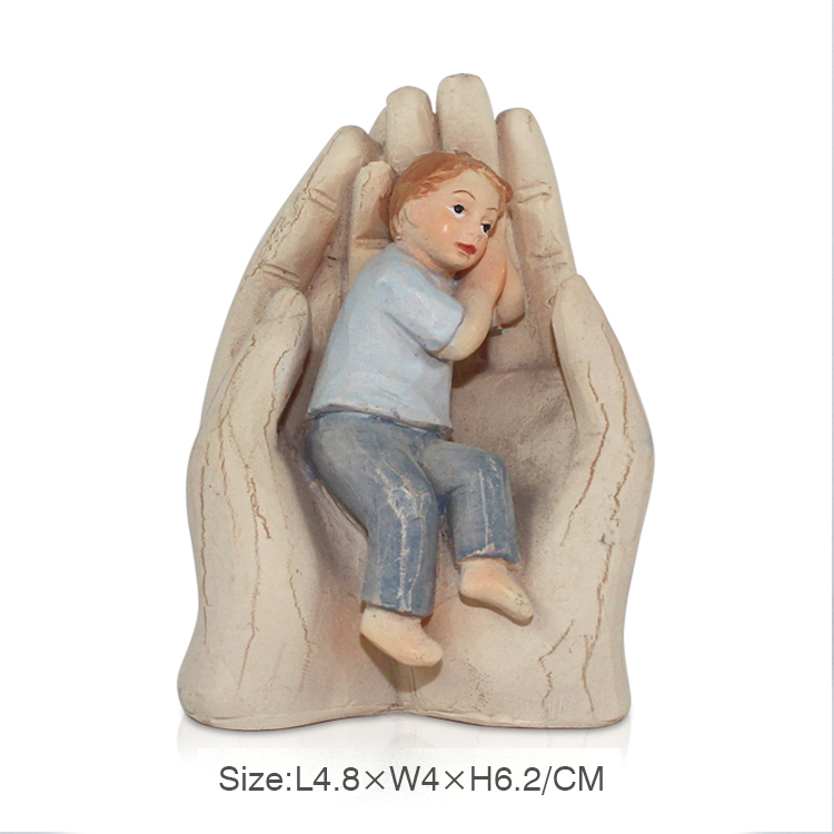 custom wooden resin child in the palm statue