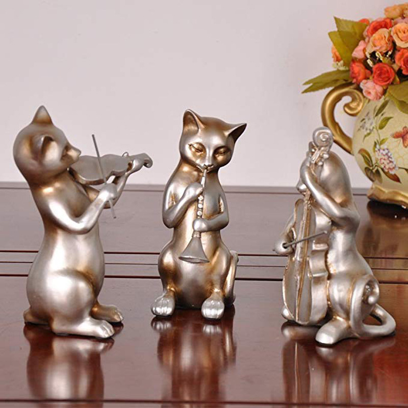 country style music cat collectable resin jazz musician band figurines
